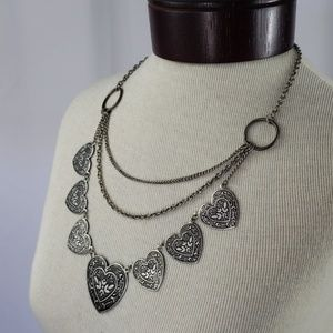 Silver Tin Stamped Heart Necklace